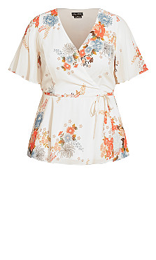 Poised Bloom Top - ivory