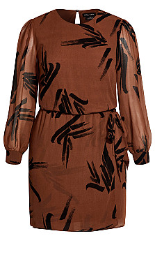 Swished Dress - cognac
