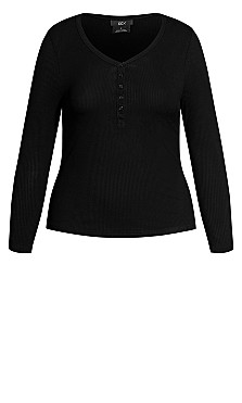 Button Long Sleeve Top - black