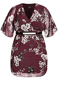 Bold Blossom Wrap Dress - bordeaux