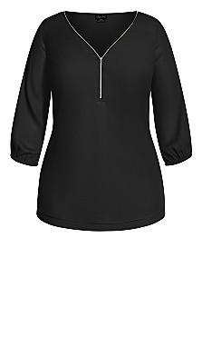 Sexy Fling Elbow Sleeve Top - black