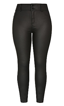 Skylar Short Coated Skinny Jean - black