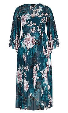 Jade Blossom Maxi Dress - jade