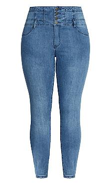 Harley Corset Skinny Short Jean - denim