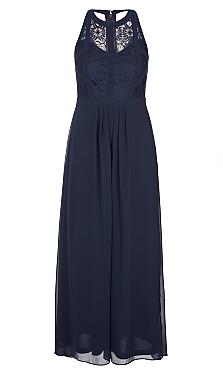 Panelled Bodice Maxi Dress - navy