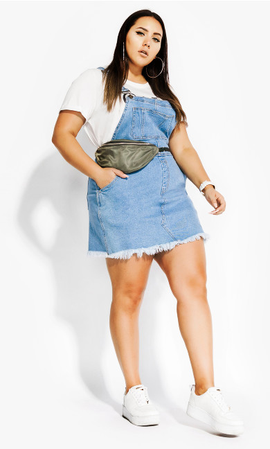 Women's Plus Size Denim Overall Bib Dress