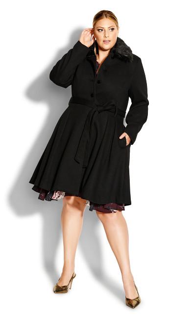 Plus Size Blushing Belle Coat - black