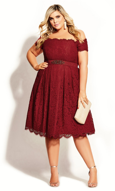 Women's Plus Size Lace Dreams Dress - red
