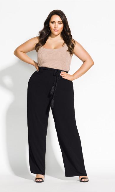Women's Plus Size Simple Palazzo Pant - black