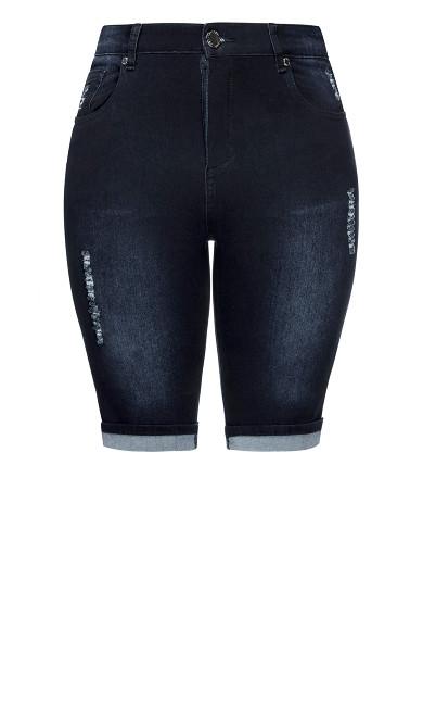 Turn Up Knee Length Short - indigo