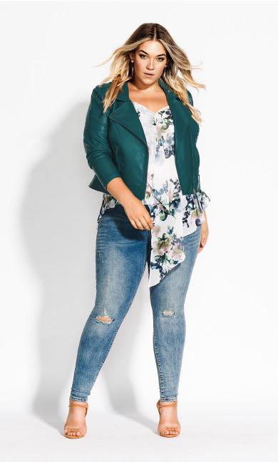 Women's Plus Size Whip Stitch Biker - jade