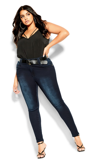 Women's Plus Size Asha Short Skinny Jean - Denim