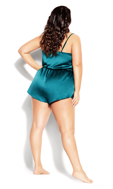 Stella Satin Playsuit - emerald