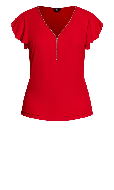 Zip Fling Top - red