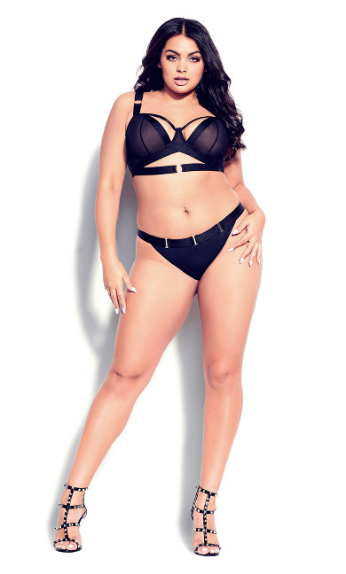 Plus Size Angelika Crotchless Panty - black