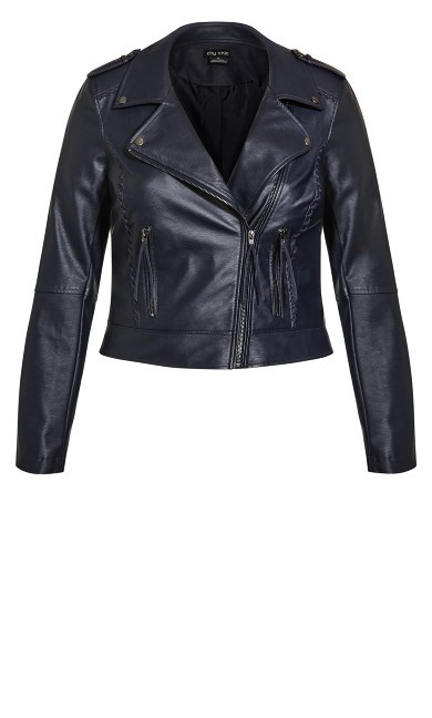 Whip Stitch Biker Jacket - navy