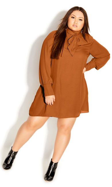 Plus Size Neck Tie Tunic - caramel