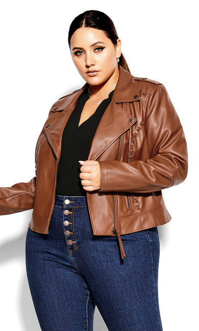 Plus Size Cross Stitch Biker Jacket Faux Leather Ginger
