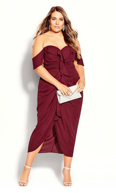 Plus Size Va Va Voom Dress Garnet Off Shoulder Faux Wrap Midi