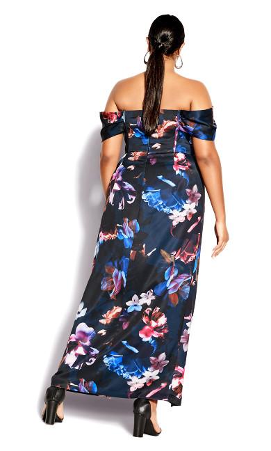 Opulent Floral Maxi Dress - black