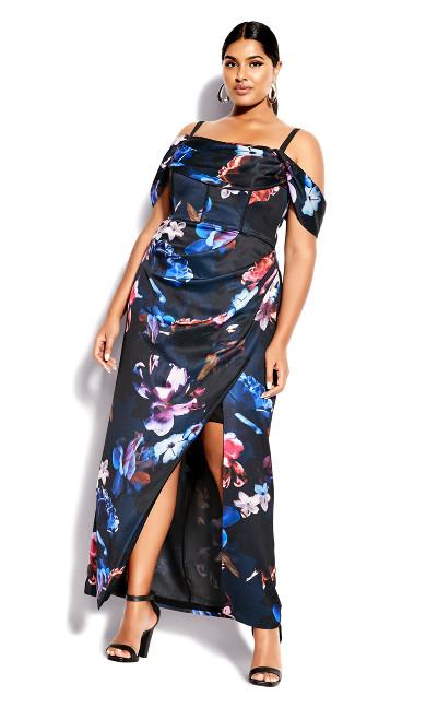 Plus Size Clothing Opulent Floral Maxi Dress - black
