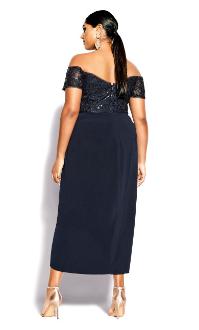 Romantic Ruffle Maxi Dress - midnight