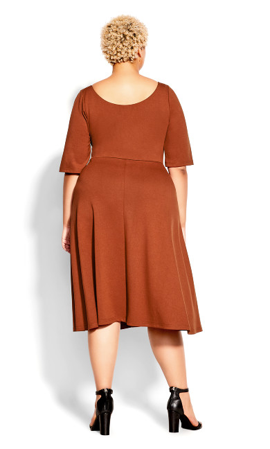 Cute Girl Elbow Sleeve Dress - ginger