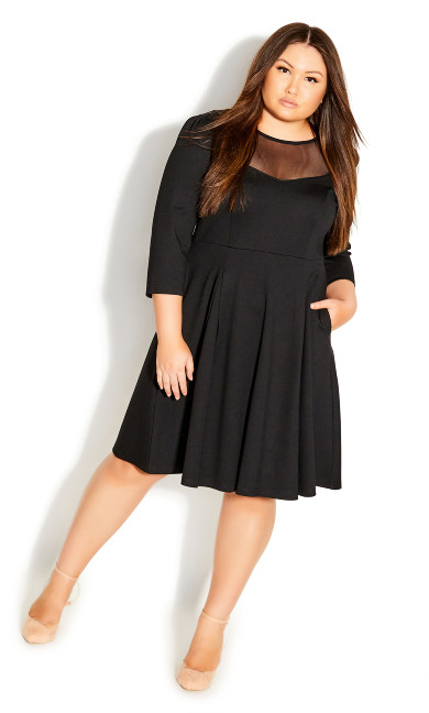 Plus Size Cute Mesh Dress - black