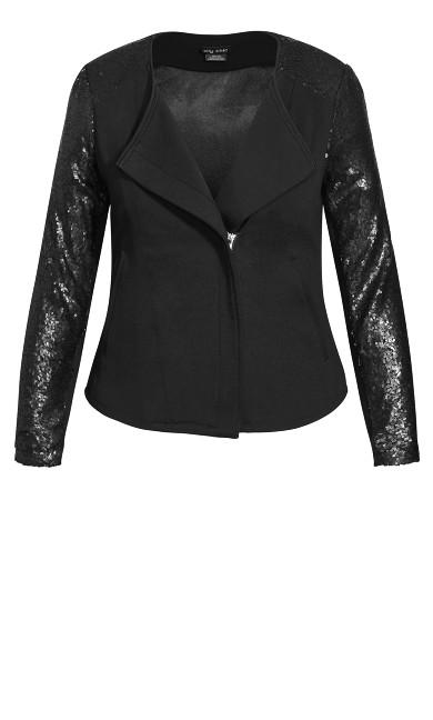 Sequin Sleeve Jacket - black