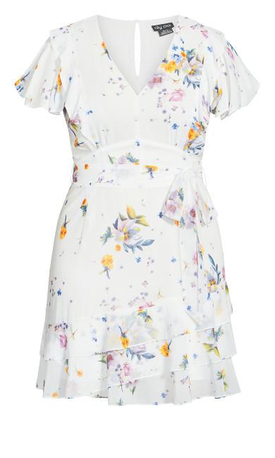 Flutter Rose Dress - white