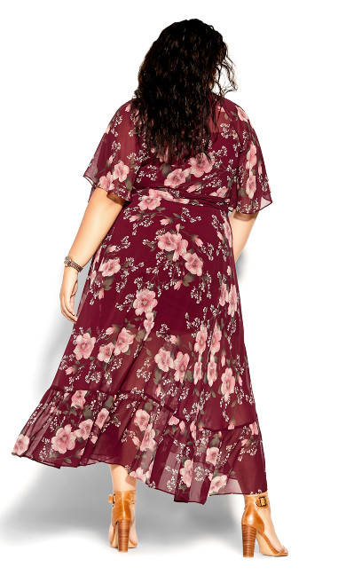 Fresco Floral Maxi Dress - pomegranate