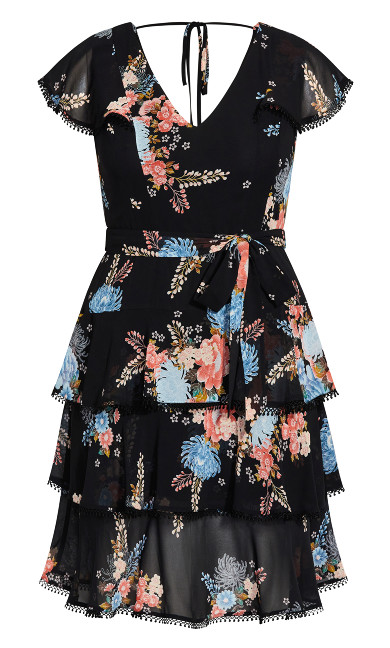 Poised Bloom Dress - black