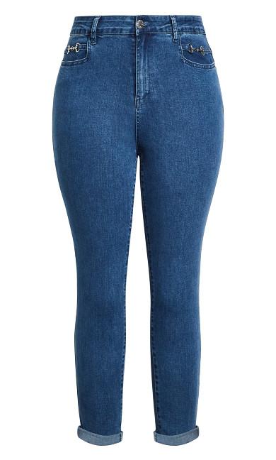 Harley Buckle Detail Jean - blue wash