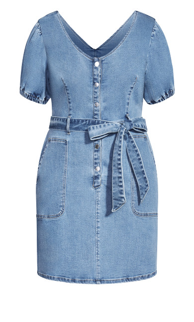 Sweet Puff Dress - mid denim