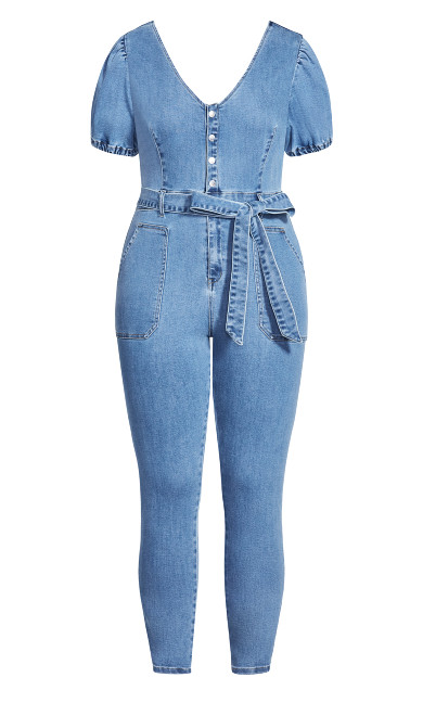 Sweet Puff Jumpsuit - mid denim