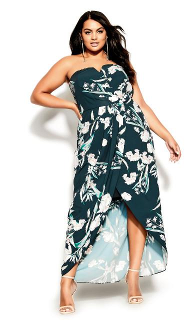 Fresh Floral Maxi Dress - emerald