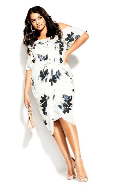 Plus Size Cream Floral Dress - ivory