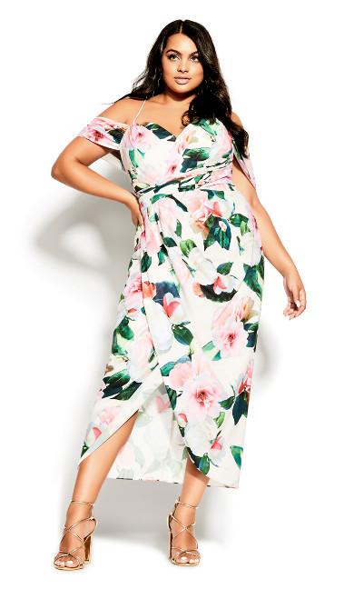 Plus Size Pink Garden Maxi Dress - ivory