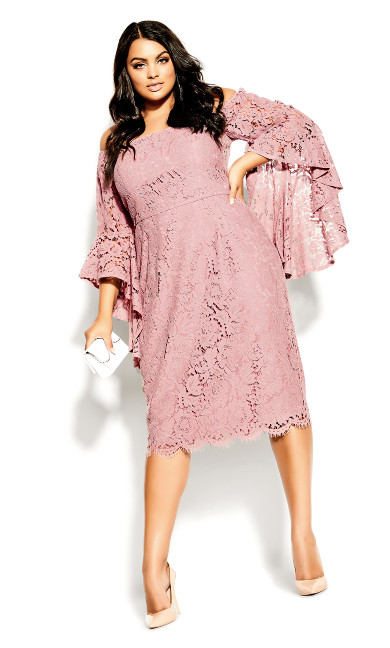 Plus Size Lace Amour Dress - deep blush