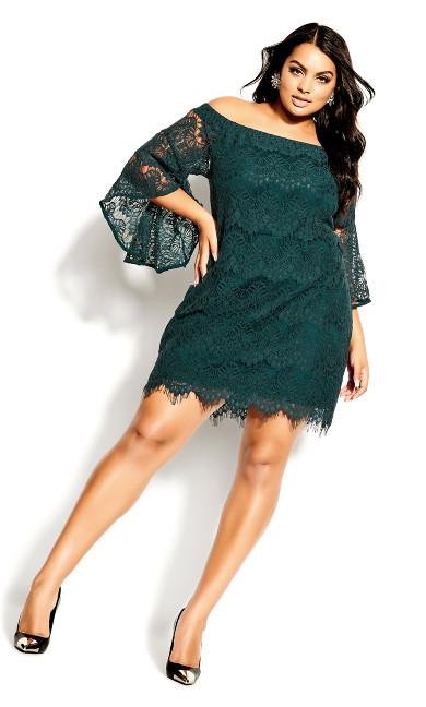 Plus Size Bella Lace Dress - emerald