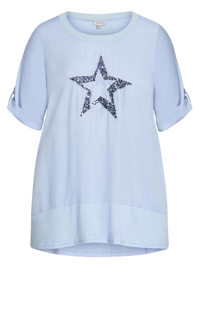 Star Longline Mixed Media Top - pale blue