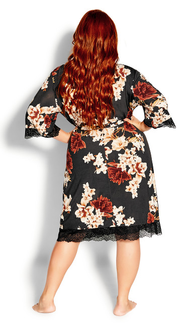 Cinnamon Floral Robe - black