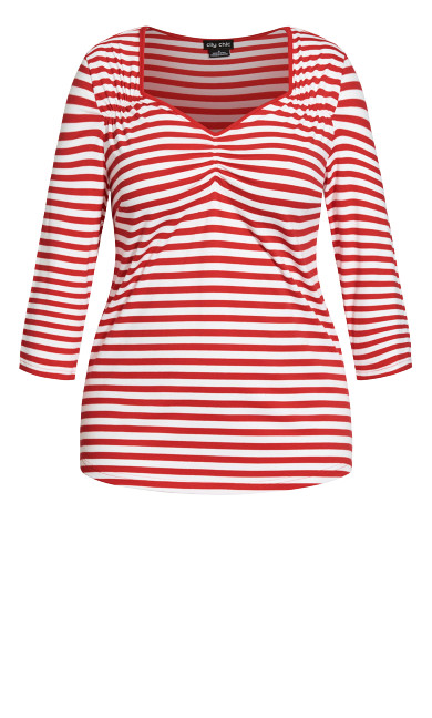 Pin Up Stripe Top - red