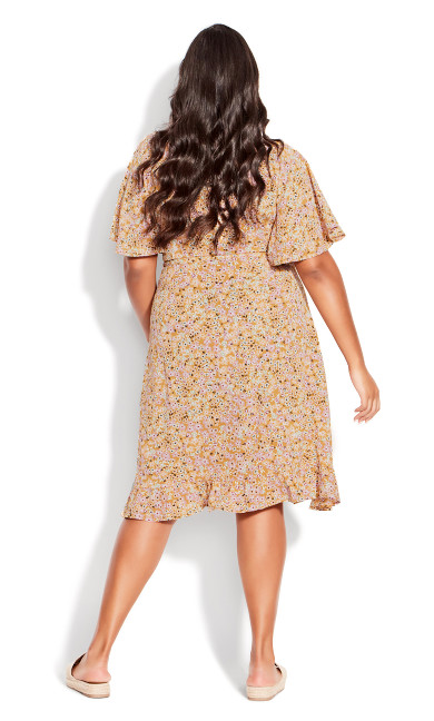It's A Wrap Print Dress - mustard ditsy
