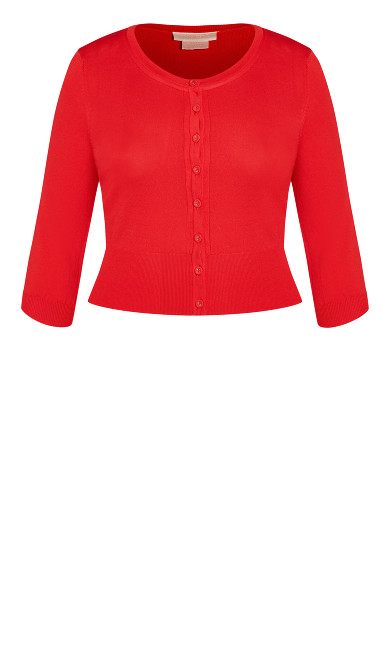 Retro Elbow Sleeve Cardigan - red