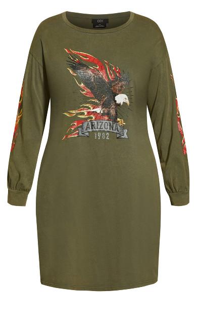 Graphic Dress - khaki
