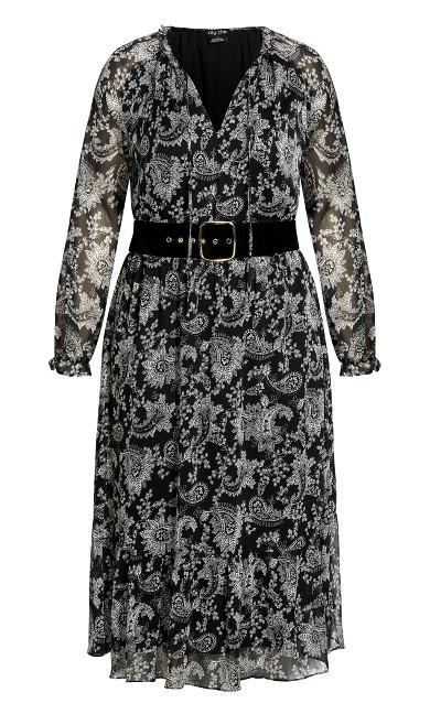 Chic Paisley Dress - black