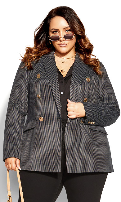 Houndstooth Longline Jacket - brown