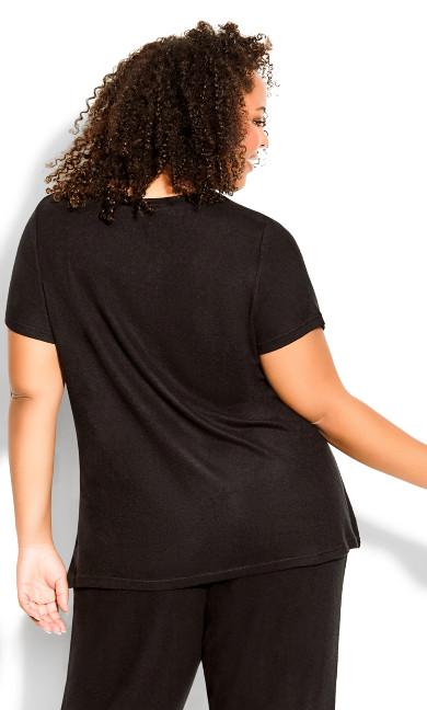 Hacci Short Sleeve Sleep Top - black