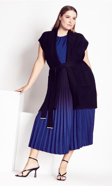 Pleated Ombre Skirt - cobalt